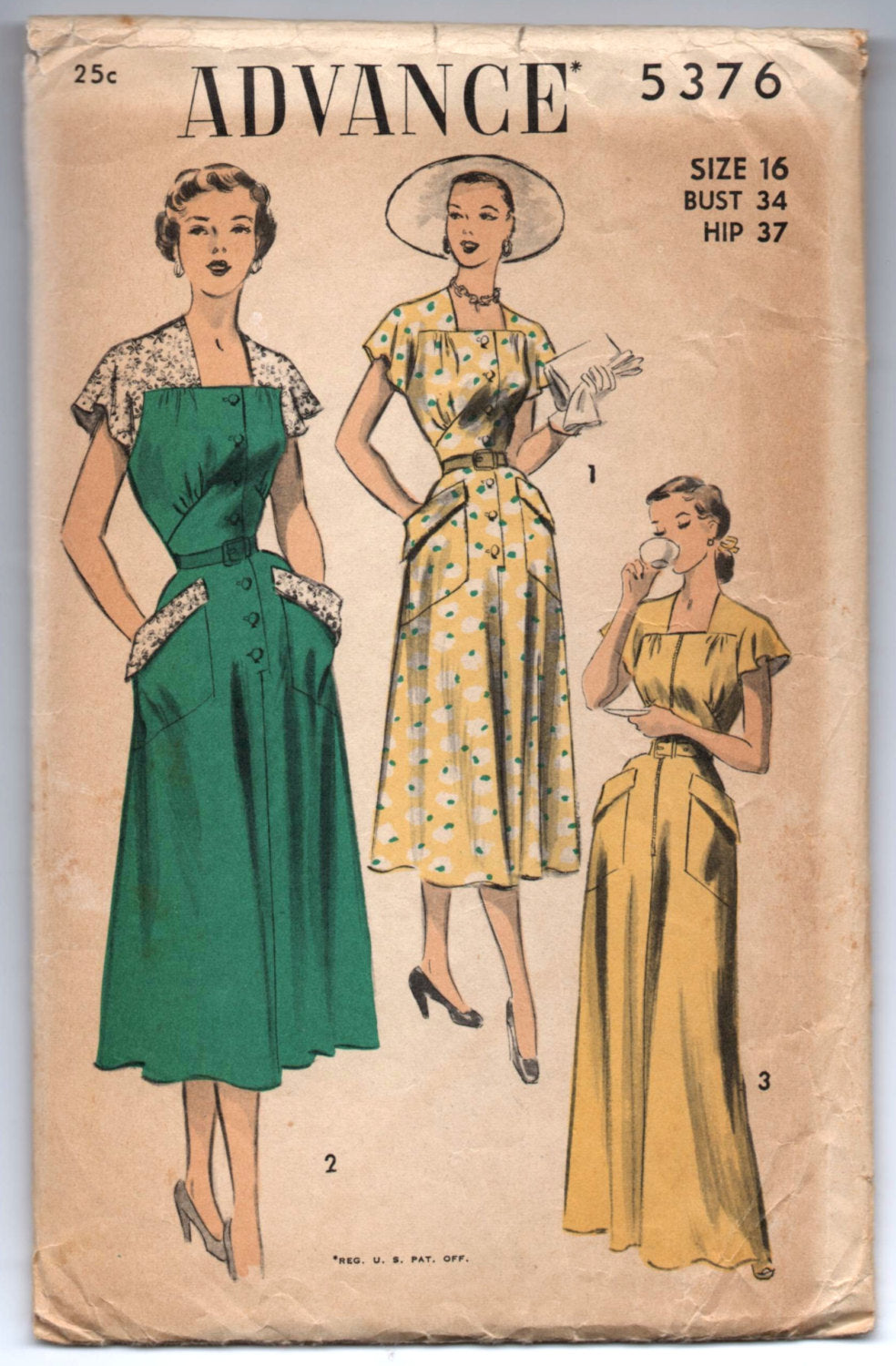 1950's Advance Day Dress, House Coat, Lace Sleeve Afternoon Dress Pattern - Bust 34