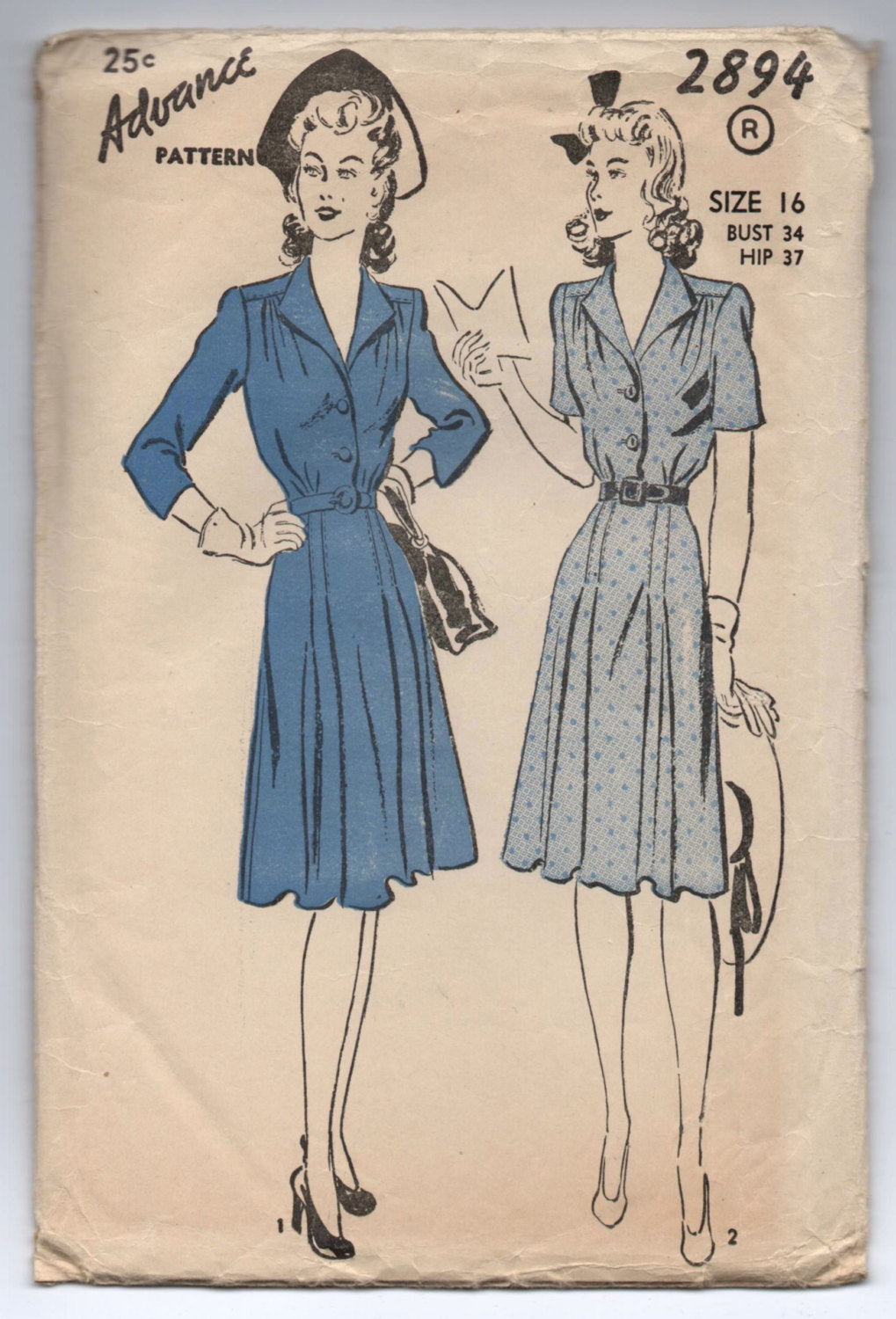 1940's Advance One-Piece Shirtwaist Dress with 3/4 or Short Sleeves - Bust 34