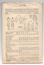 "1940's Advance One-Piece Shirtwaist Dress with 3/4 or Short Sleeves - Bust 34"" - No. 2894"