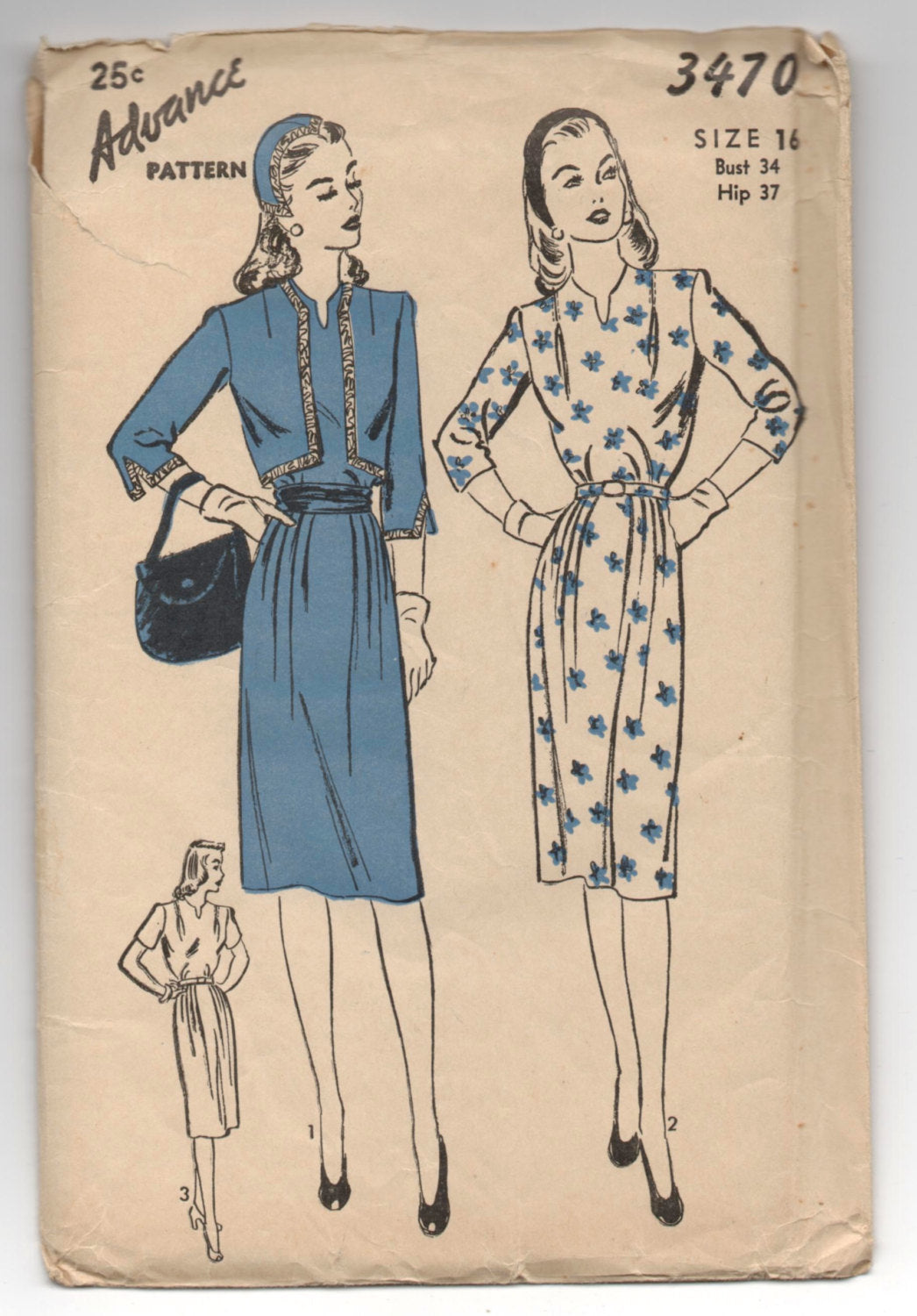 1940's Advance One-Piece Dress, Bolero Jacket and Soft Cap Pattern - Bust 34