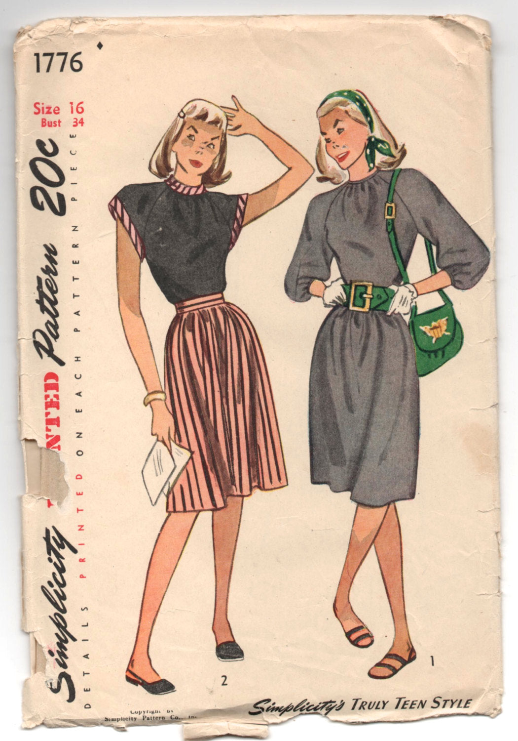 1940's Simplicity One-Piece Sleeveless or Long Sleeve Dress Pattern - UC/FF - Bust 34