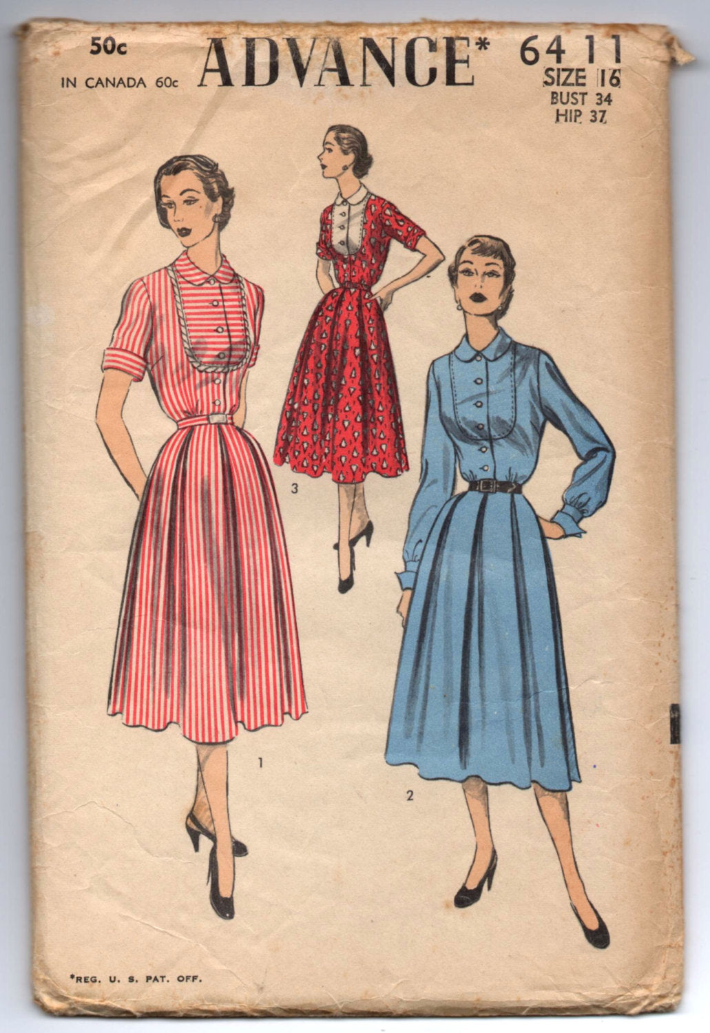 1950's Advance One-Piece Dress with contrast front Pattern - Bust 34