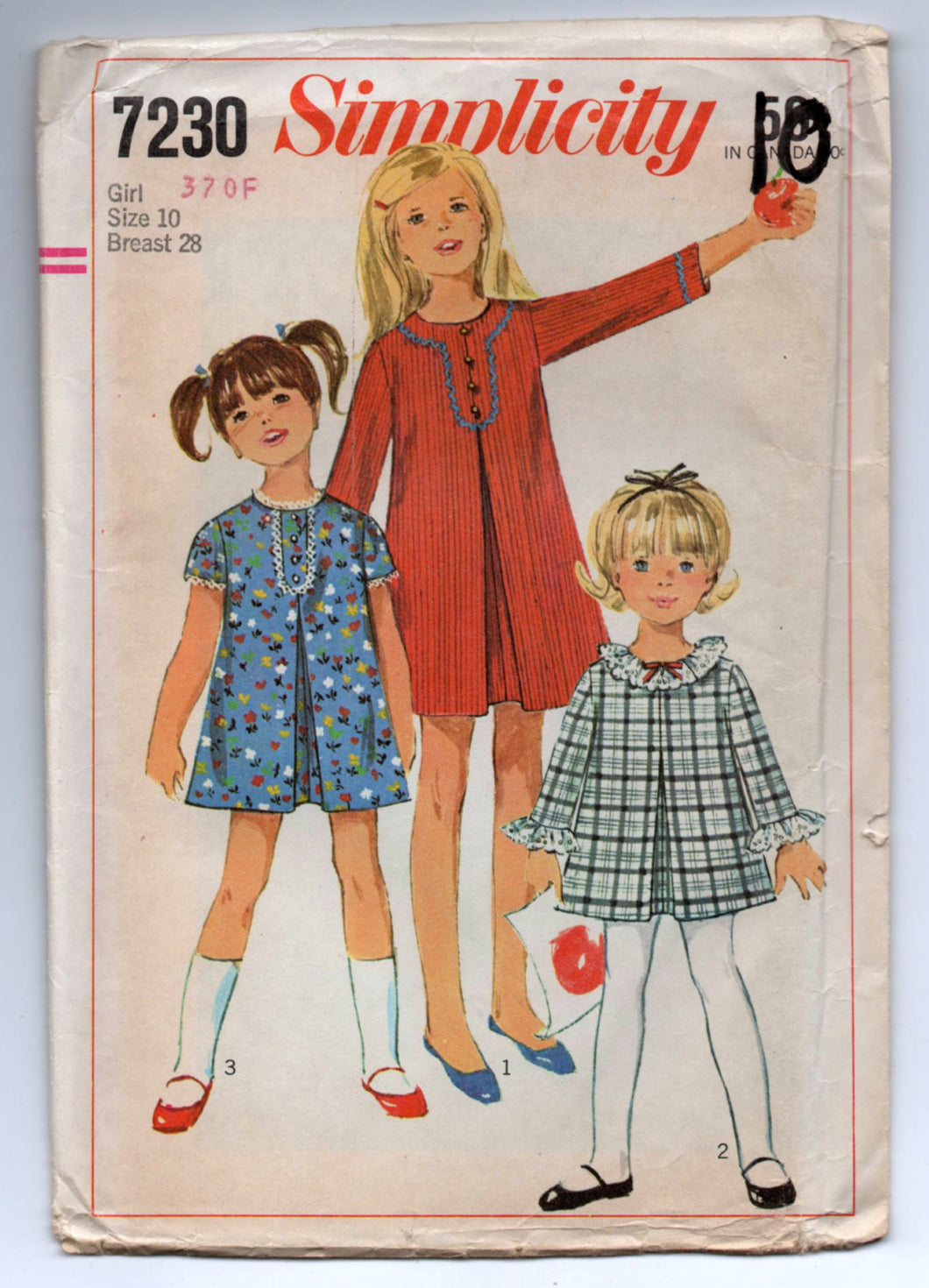 1960's Simplicity Girl's A-Line Dress with Two Sleeve Lengths Pattern - UC/FF - Breast 28