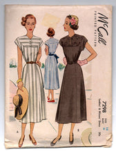 "1940's Simplicity One-Piece Dress with Cap Sleeve Pattern - Bust 36"" - No. 7298"