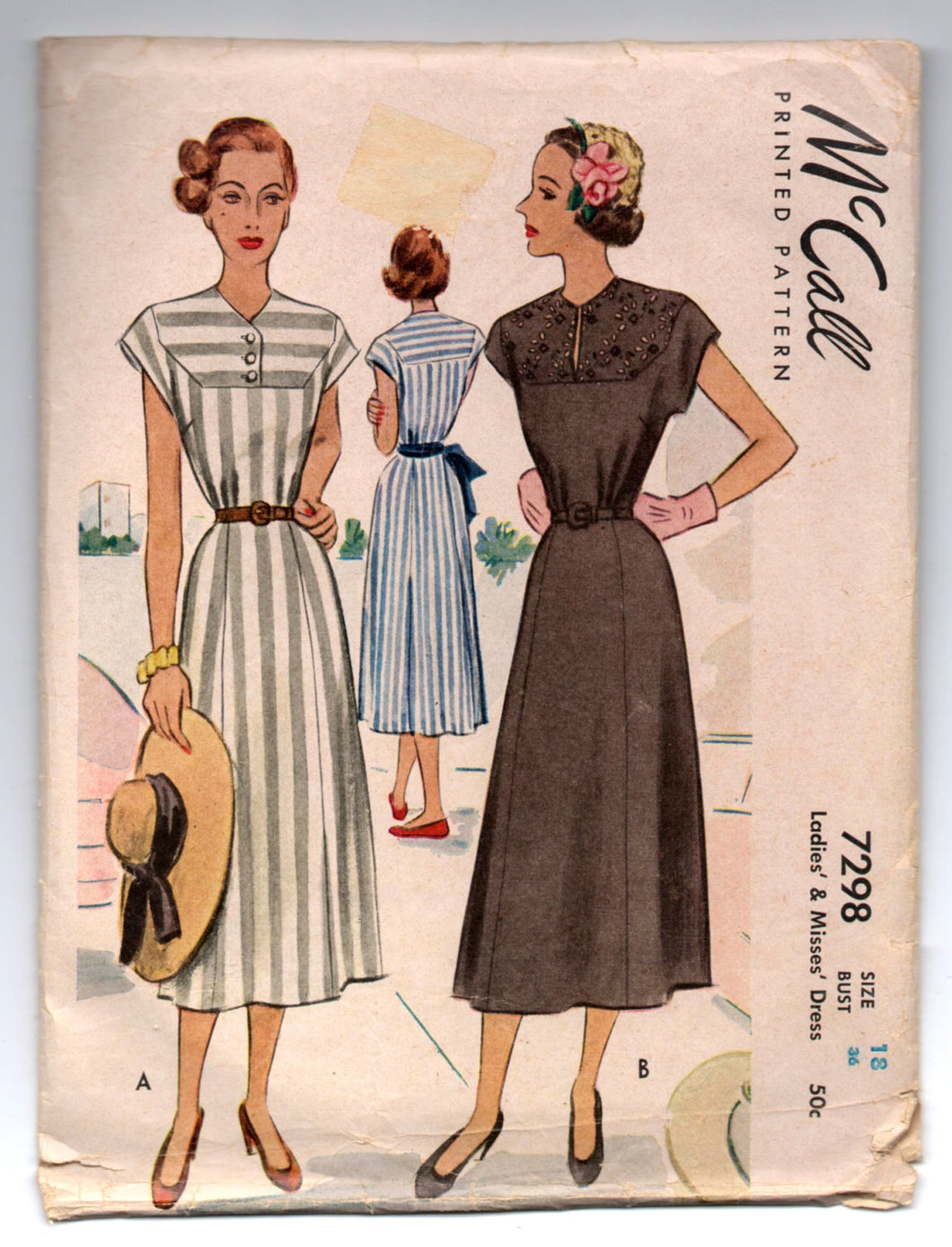 1940's Simplicity One-Piece Dress with Cap Sleeve Pattern - Bust 36