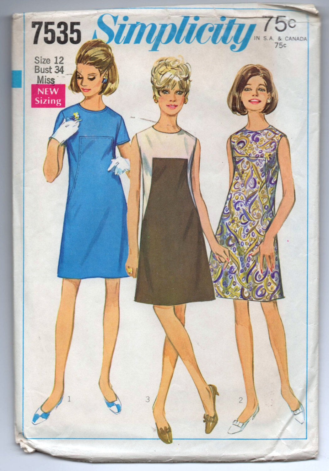 1960's Simplicity One-Piece Mod Contrast Dress Pattern - Bust 34