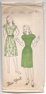 "1940's New York One-Piece Dress with Cap Sleeves Pattern - UC/FF - Bust 29"" - No. 917"