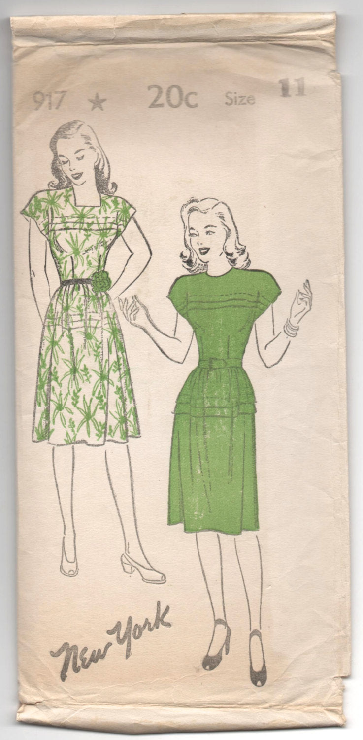 1940's New York One-Piece Dress with Cap Sleeves Pattern - UC/FF - Bust 29