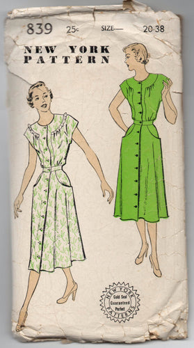 1940's New York One-Piece Button-Up Day Dress Pattern - Bust 38