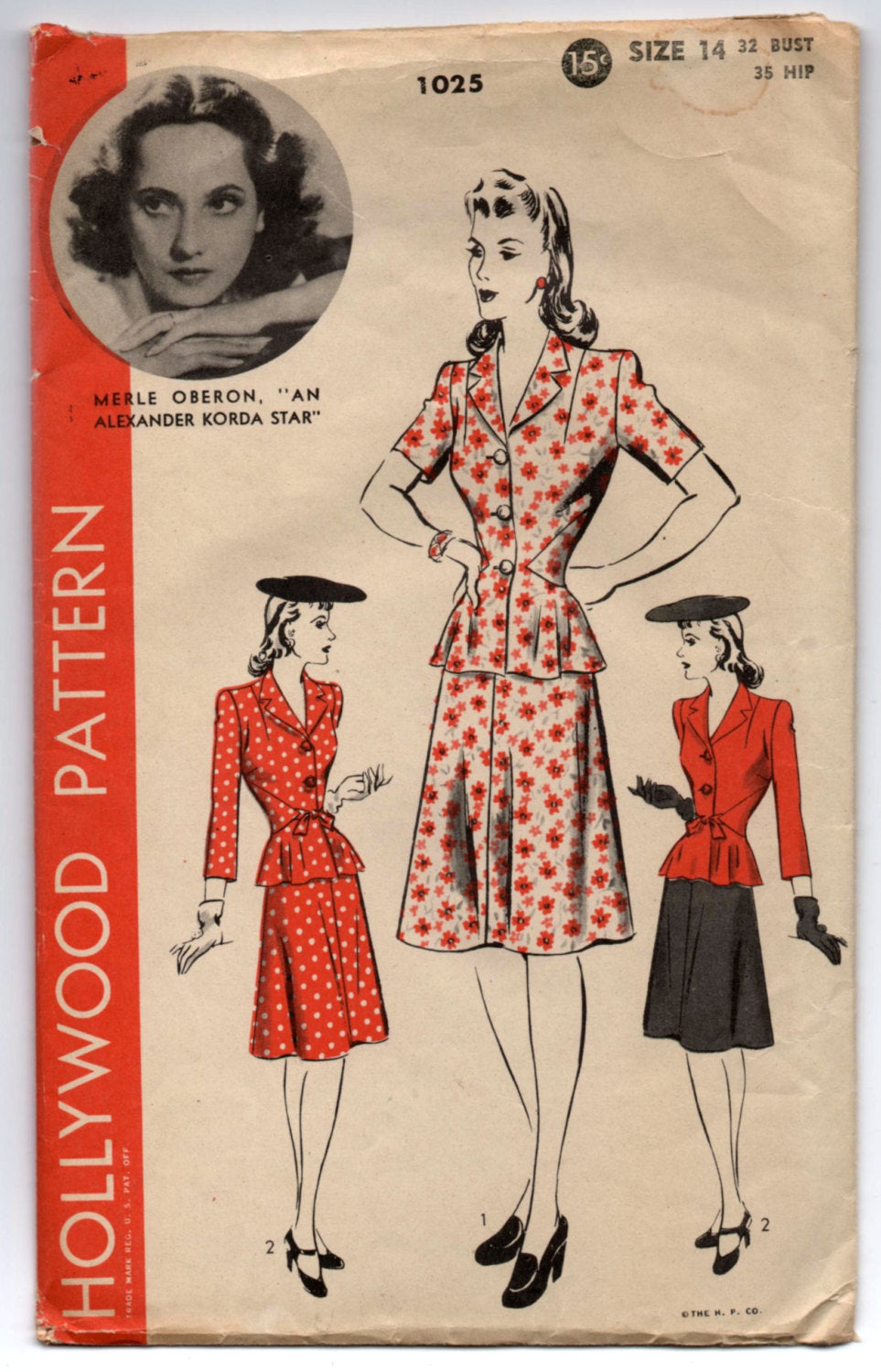 1940's Hollywood Two Piece Dress with Jacket and Skirt - Bust 32