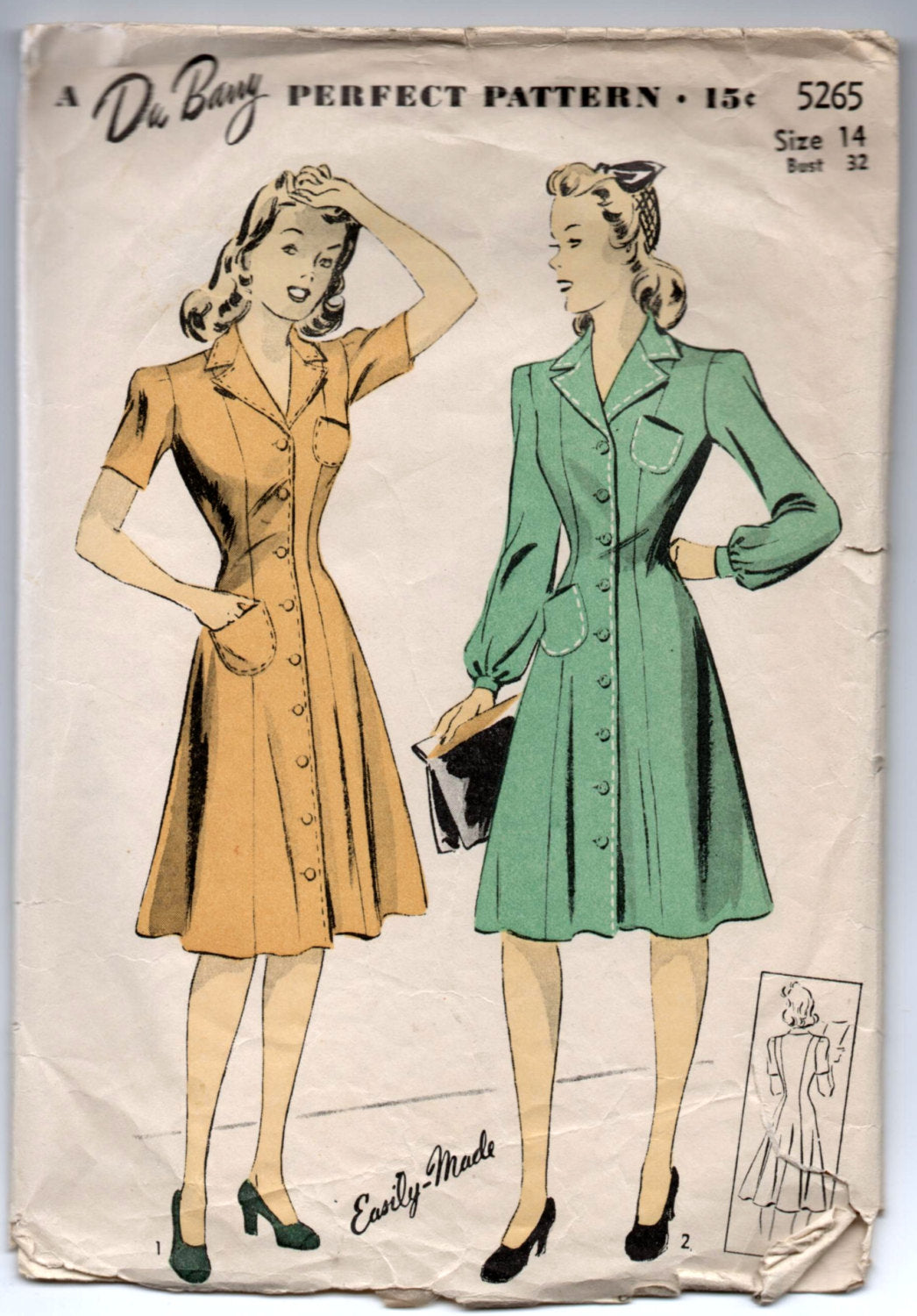 1940's DuBarry Princess Dress, One-Piece, Button-Up Pattern - Bust 32