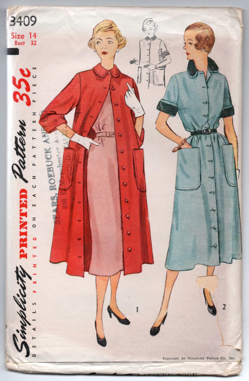 1950's Coat Dress and Duster Pattern by Simplicity - UC/FF - Bust 32