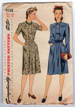 "1940's Day Dress with Double-Breasted, Bow Detail at neck with Pockets Pattern by Simplicity - Bust 38"" - No. 4538"