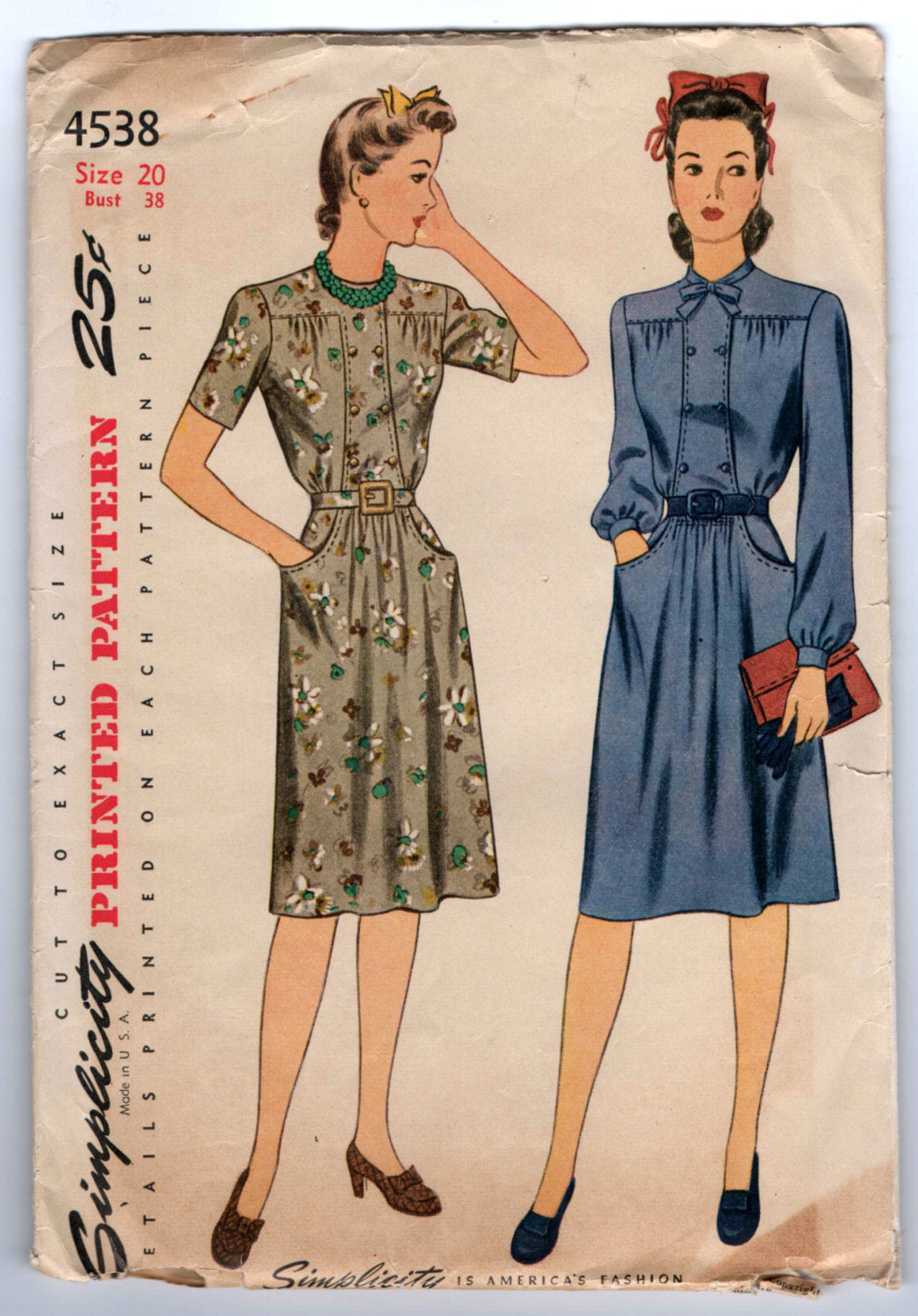 1940's Day Dress with Double-Breasted, Bow Detail at neck with Pockets Pattern by Simplicity - Bust 38