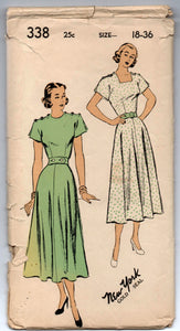 "1950's One-Piece Dress with Button Detail on Shoulders Pattern - Bust 36"" - No. 338"