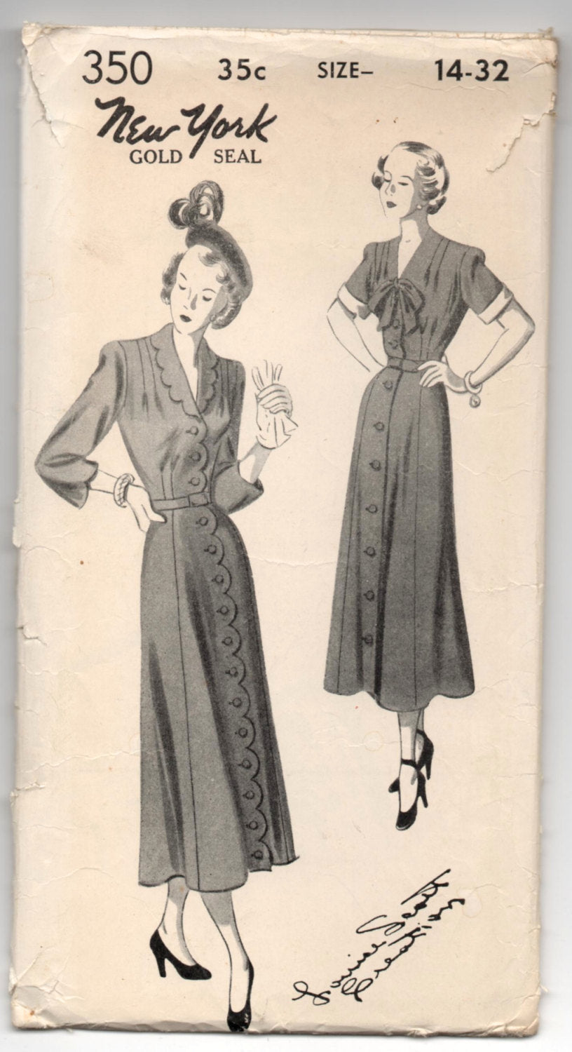 1950's One-Piece Dress with Scalloped Edges or Bow Detail by New York - Bust 32