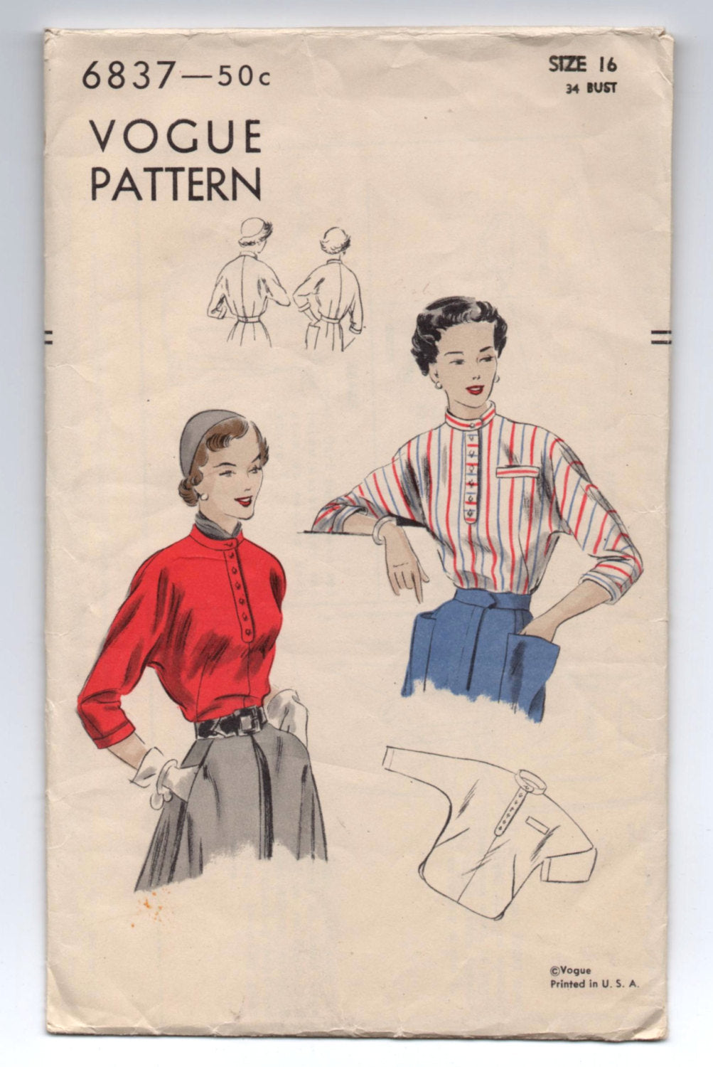 1940's Blouse with Kimono Sleeves, High Neckline and Collar Pattern by Vogue - Bust 34