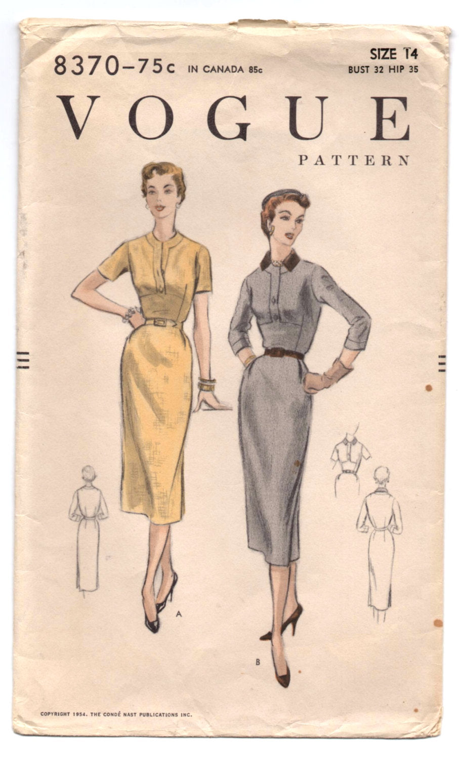 1950's Fitted One-Piece Day Dress with Pencil style Skirt and either Short or Three-Quarter Sleeves by Vogue - Bust 32