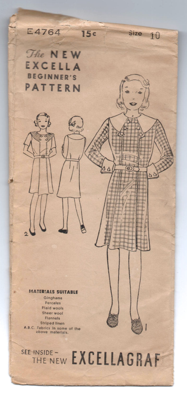 1930's Excella One-Piece Dress, Large Collar with Button detail Pattern - Bust 28