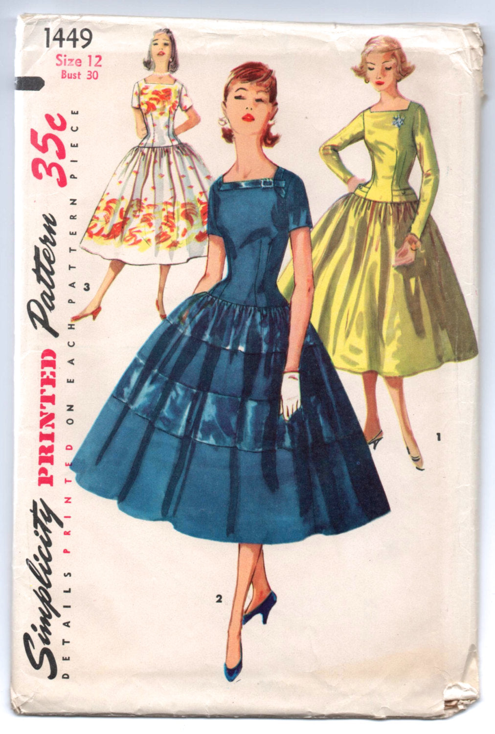 1950's Simplicity Cocktail Dress with Square neckline and Flared Skirt Pattern - UC/FF - Bust 30