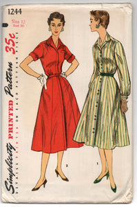 "1950's Simplicity One-Piece Shirtwaist Dress with High Neck - UC/FF - Bust 30"" - No. 1244"