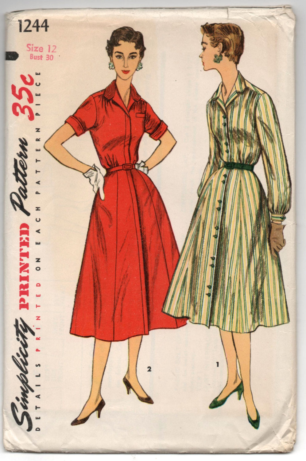1950's Simplicity One-Piece Shirtwaist Dress with High Neck - UC/FF - Bust 30