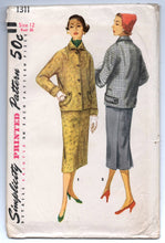 "1950's Simplicity Two-Piece Suit with Kimono Sleeves and Slim Skirt Pattern - UC/FF - Bust 30"" - No. 1311"