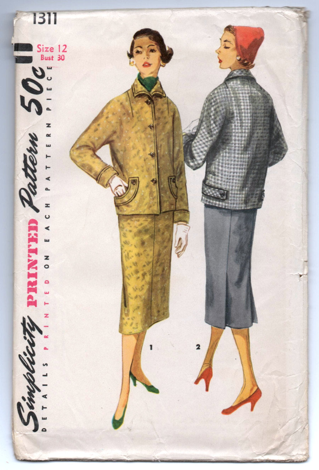 1950's Simplicity Two-Piece Suit with Kimono Sleeves and Slim Skirt Pattern - UC/FF - Bust 30
