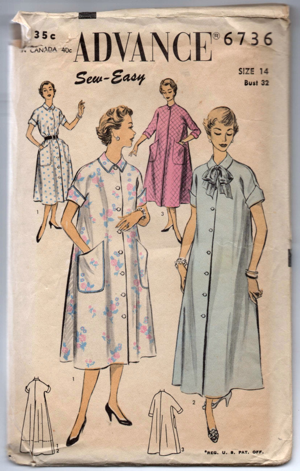 1950's Advance Robe or House Dress pattern - Bust 32