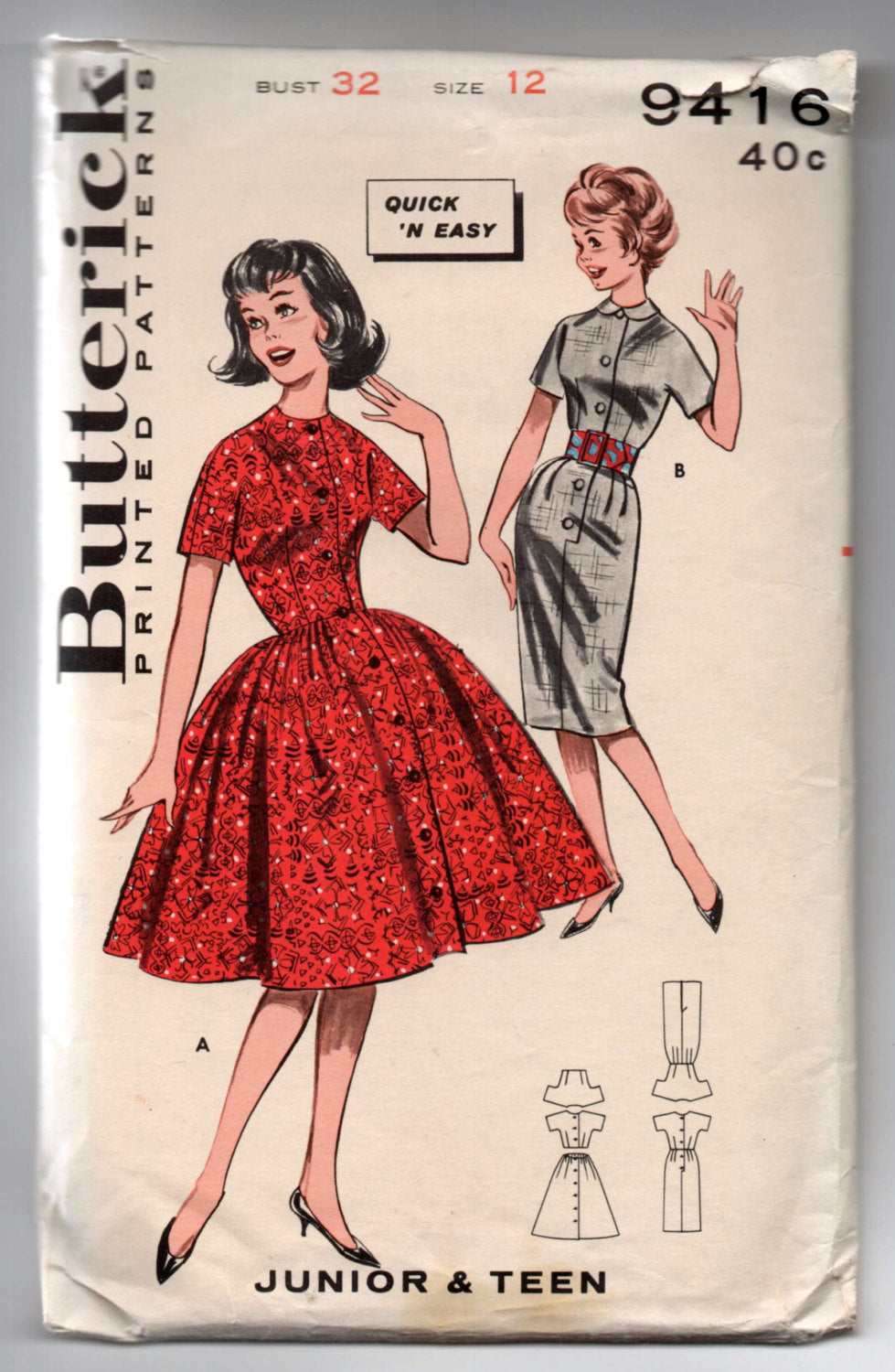 1960's Butterick One-Piece Dress with Full or Slim Skirt Pattern - Bust 32
