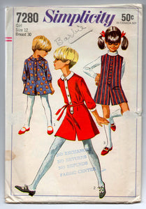 "1960's Simplicity Girl's Jumper or Dress - Breast 30"" - Size 12 - No. 7280"