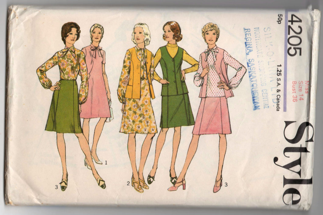 1970's Style Skirt, Vest and Blouse Pattern - Bust 36