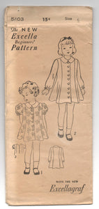 "1930's Excella Girl's Dress with long or short sleeve pattern - Breast 24"" - No, 5103"