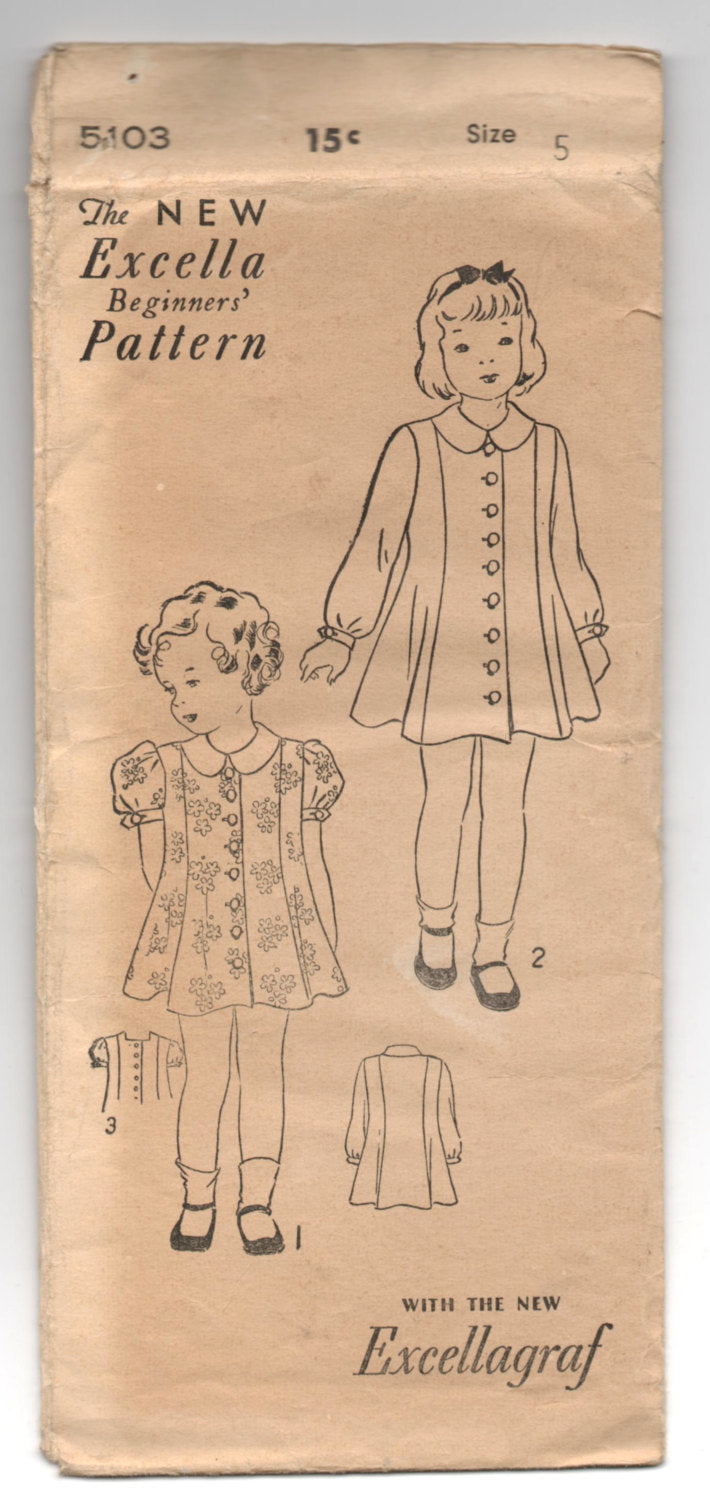 1930's Excella Girl's Dress with long or short sleeve pattern - Breast 24