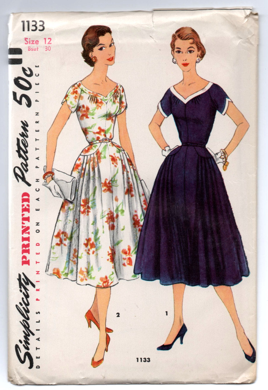 1950's Simplicity Day Dress with Curved V Neckline with Yoke Detail Pattern - UC/FF - Bust 30