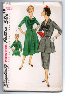 1950's Simplicity Day Dress with two Skirts, Peplum, and Bow Detail Pattern - UC/FF - No. 1351