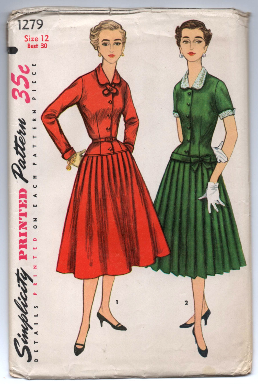 1950's Simplicity One-Piece Dress with Collar, Drop Waist and Pleats - UC/FF - Bust 30