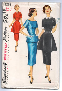 "1950's Simplicity Two-Piece Dress with Pencil Skirts, Peplum, and Collar Pattern - UC/FF - Bust 30"" - No. 1298"