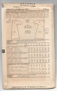 "1950's Advance Robe or House Dress pattern - Bust 32"" - No. 6736"