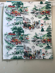 1950's Town and Country Driving Scene Fabric
