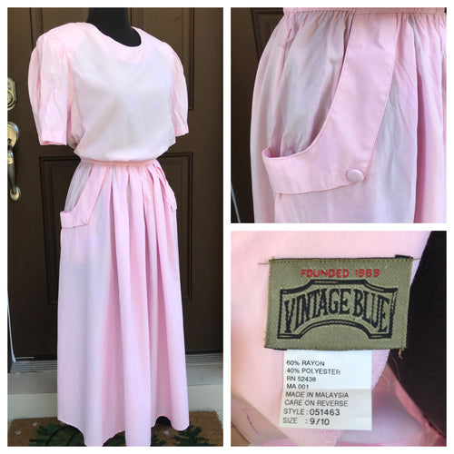 1990's Vintage Blue Pink Shirtwaist Dress - M/L