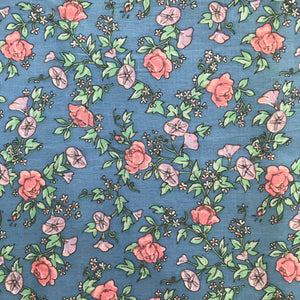 1970's Pink and Purple floral on blue fabric - Cotton blend