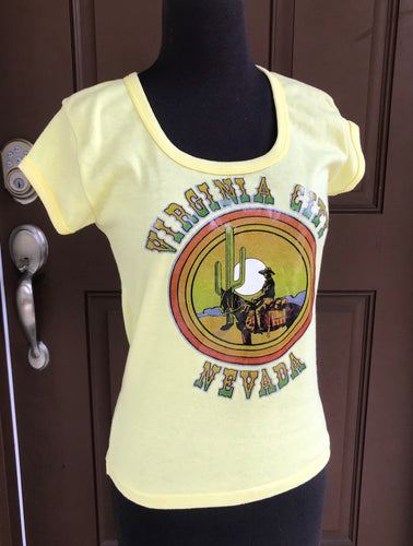 1970 or early 80's Virginia City, Nevada Souvenir Shirt with rainbow glitter appliqué- size large