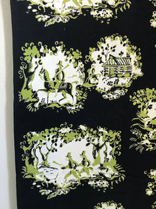 1950's Black and Green Toile with hunting scenes