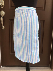 1980's Blue Gradient Seersucker - Half Apron - Cotton Blend