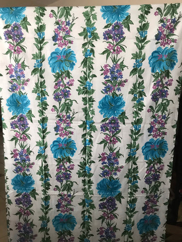1950's Oversize Blue Floral with Green Leaves Polished Cotton Fabric