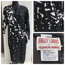 1980's Maggie London Abstract Silk Dress with Contrast Sash  - M/L
