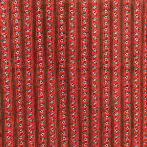 1960's Fabric - Red with Tiny Blue Flowers - Cotton blend