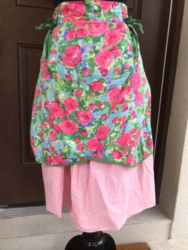 Modern Repro Apron - Pink Roses and Pink dot - Half Apron - Cotton