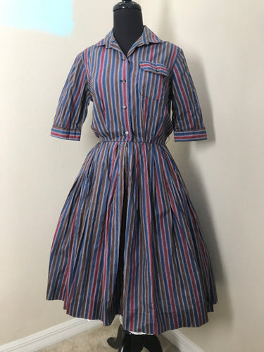 "Bust 38"" - 1950's Elaine Terry Striped Shirtwaist Dress Red/Blue/Brown"